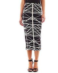 Black and White Print Pencil Skirt