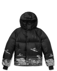 Undercover Valentino Slim Fit Printed Quilted Shell Hooded Down Jacket