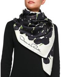 Black and White Print Silk Scarf