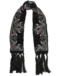 Tasseled printed silk crepe de chine scarf medium 421382