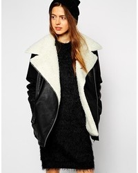 Women's Black and White Shearling Coats from Asos | Women's Fashion