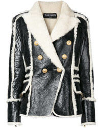 Double breasted shearling jacket medium 6834163