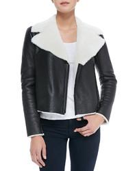 Front zip shearling moto jacket medium 116630