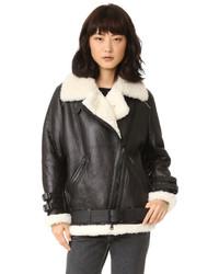 Velocite shearling moto coat medium 873143