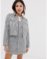 Miss Selfridge Cropped Jacket In Gingham