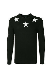 Black and White Star Print Crew-neck Sweater