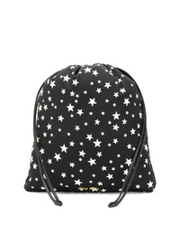 Black and White Star Print Leather Clutch