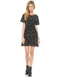 Black and White Star Print Skater Dress