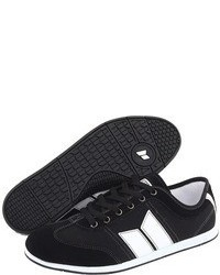 Black and White Suede Low Top Sneakers