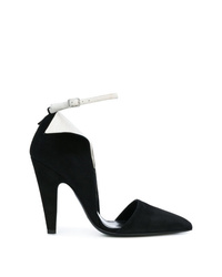 Black and White Suede Pumps