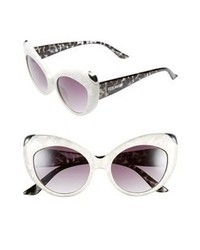 Steve Madden 55mm Cat Eye Sunglasses White Animal One Size