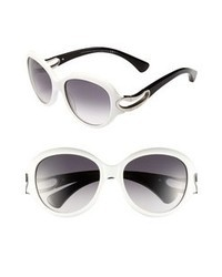 Alexander McQueen 56mm Retro Sunglasses White One Size