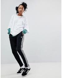 adidas Originals Adicolor Three Stripe Track Pants In Black