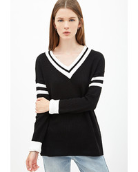 Black and White V-neck Sweater