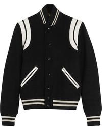Saint Laurent Leather Trimmed Wool Blend Bomber Jacket