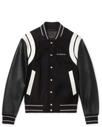 Givenchy Logo Print Leather And Wool Bomber Jacket