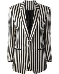 Black and White Vertical Striped Blazer