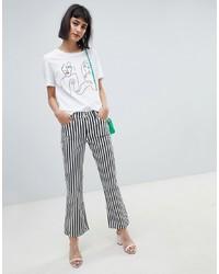 Mango Mono Stripe Kickflare Jean In Black And White