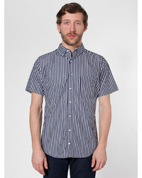 Black and White Vertical Striped Short Sleeve Shirt