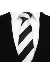 DQT Striped Black White Tie