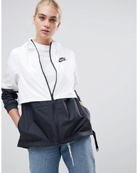 Nike White And Black Small Logo Hooded Jacket