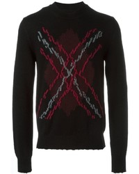 Black Argyle Crew-neck Sweater