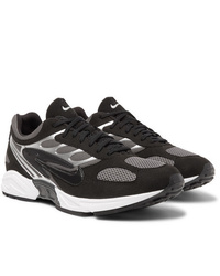 Nike Air Ghost Racer Leather Trimmed Mesh Sneakers