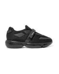 Prada Cloudbust Allacciate Logo Embossed Rubber And Leather Trimmed Mesh Sneakers