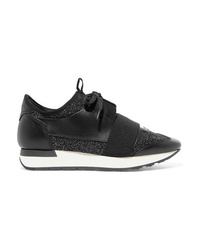 Balenciaga Race Runner Metallic Stretch Knit And Leather Sneakers