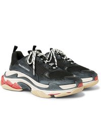 Balenciaga Triple S Mesh Nubuck And Leather Sneakers