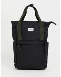 ASOS DESIGN Backpack In Black With Green S