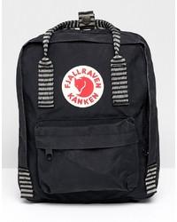 FjallRaven Mini Kanken Black Backpack With Contrast Stripes Stripe