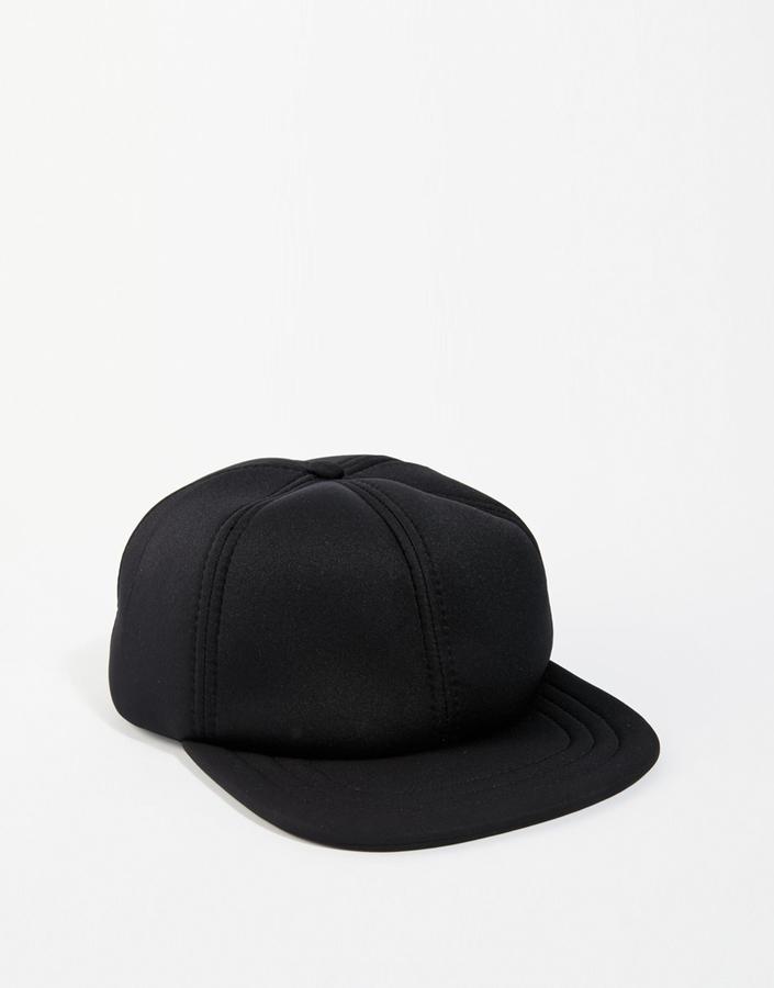 196ef860675 ... Baseball Caps Asos Brand Snapback Cap In Black Neoprene ...