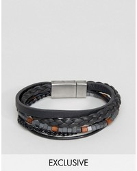 Leather beaded bracelet in black medium 3707556