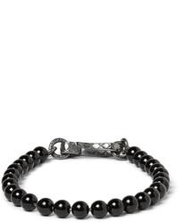 Bottega Veneta Oxidised Silver And Onyx Beaded Bracelet