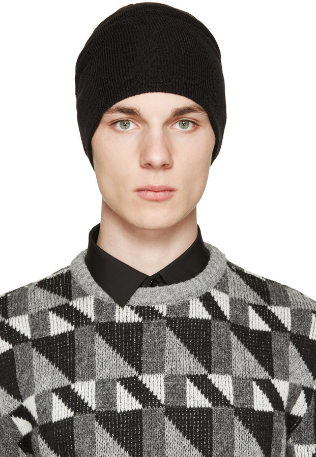 ... Saint Laurent Black Wool Knit Beanie 15d4c5fb0794