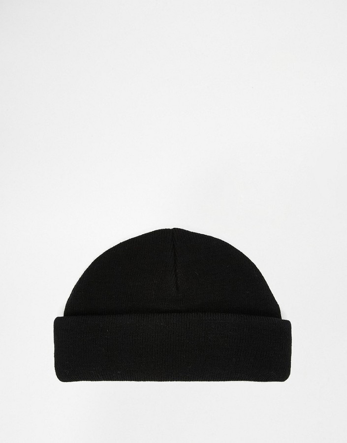 8f60cb3f6 £10, Asos Brand Mini Fisherman Beanie In Black