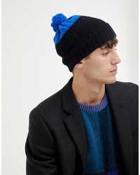 Paul Smith Colour Block Wool Bobble Beanie In Black