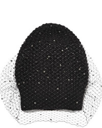 Jennifer Behr Crystal Voilette Embellished Angora And Merino Wool Blend Beanie Black