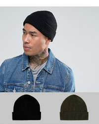 f50f3410b51 ... Asos Fisherman Beanie 2 Pack In Black And Khaki Save
