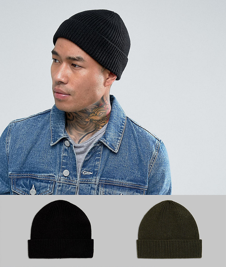 44872fc1078b Asos Fisherman Beanie 2 Pack In Black And Khaki Save, £10 | Asos ...