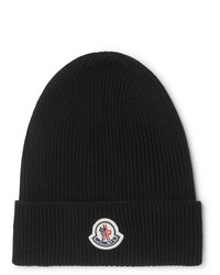 Moncler Logo Appliqud Ribbed Wool Beanie