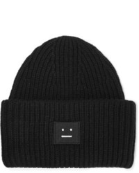 Acne Studios Pansy Appliqud Ribbed Wool Beanie Black