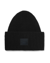 Acne Studios Pansy Face Appliqud Ribbed Wool Beanie