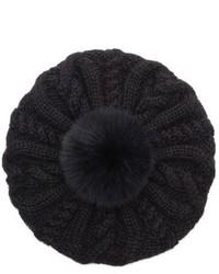 Genevieve genuine arctic fox fur trim alpaca beret black medium 801896