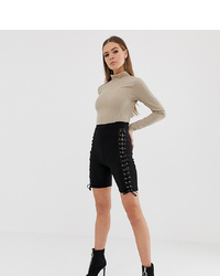 Missguided Legging Shorts With Lace Up Detail In Black