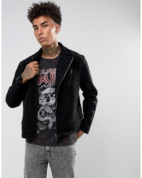 Black Kaviar Biker Jacket In Black Borg