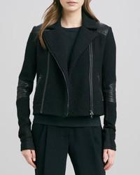 Vince Boucle Moto Jacket Black