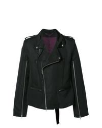 Ann Demeulemeester Zip Up Biker Jacket Black