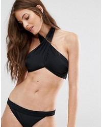 Noisy May Tan Lines Black Twist Halter Bikini Top
